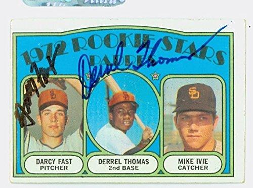 Derrel Thomas DUAL SIGNED 1972 Topps #457 San Diego Padres Rookies CARD IS G/VG; SL (1972 San Diego Padres)