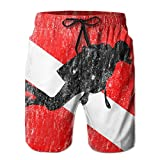 Men's Diver On Dive Flag Diving Gifts Quickly Drying Lightweight Fashion Board Shorts Swim Trunks XL