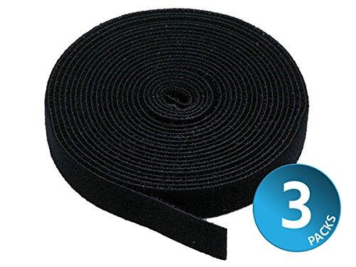 Monoprice 121887 3 Pack Hook & Loop Fastening Tape 5 Yd/Roll