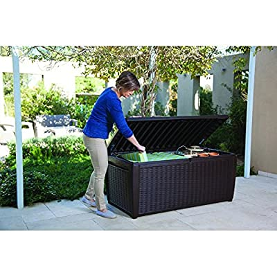 """Top Rated Poly Resin Plastic Water Resistant Dark Mocha Brown 135-Gallon Storage Cargo Bench Seat Container- Elegant Rattan Finish- 57"""" Girth Deep Cargo Bay- Perfect Organizer For Indoors Or Outdoors"""