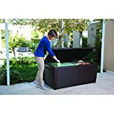Top Rated Poly Resin Plastic Water Resistant Dark Mocha Brown 135-Gallon Storage Cargo Bench Seat Container- Elegant Rattan Finish- 57