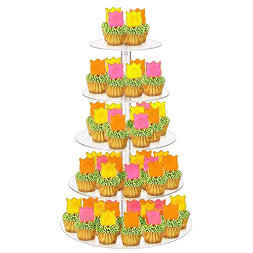 EFGS Cake Stand, 5 Tier Cupcake Stand Acrylic Transparent for Cake Sandwiches Dessert at Wedding Engagement