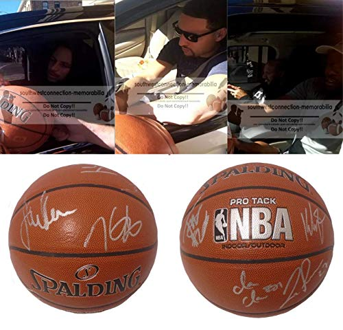 2016-2017 NBA Champions Golden State Warriors Team Autographed Hand Signed NBA Spalding Basketball with Exact Proof Photos of Signing and COA, Steph Curry, Kevin Durant, Klay Thompson, Steve Kerr