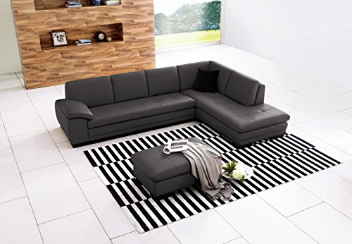 J and M Furniture 1754431131-RHFC 625 Italian Leather Sectional Grey