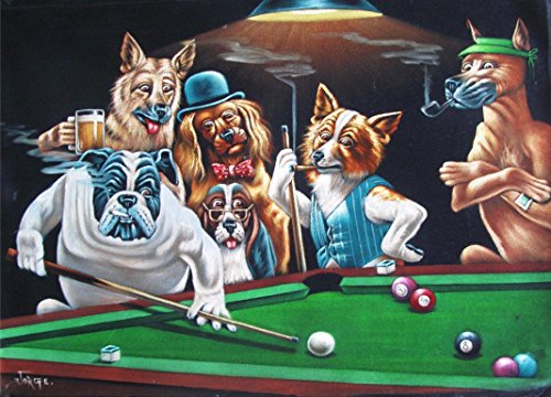 Reproduction of Vintage Classic Dogs Playing Billiards The Hustler! (5x7)