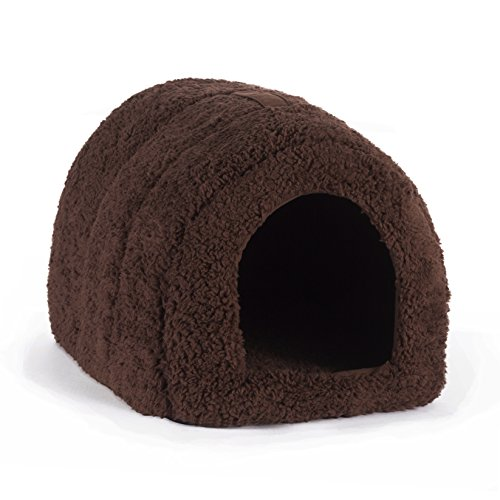 "Best Friends by Sheri Pet Igloo in Sherpa, Brown, 13""x17""x9"""
