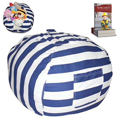 EXTRA LARGE Stuffed Animal Storage Bean Bag Chair | Finest Storage, Hammock & Organizer for kids' Plush, Jumbo & Cuddly Toys | Premium Quality Cotton Canvas | Free E-Book 40'' (Blue-Black/White)