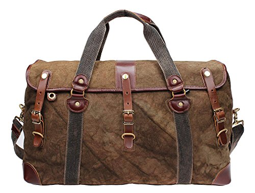 Cheap Iblue Overnight Travel Bag Leather Weekend Bag Vintage Canvas Mens Large #213178 (brown)