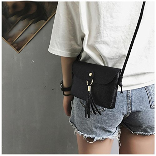 Bags Clearance Fashion Shoulder Messenger Vintage Shoulder Purse Brown Shoulder Tassel Leather Black1 Mini Bag Crossbody Bags Handbag Small Bag Seaintheson 7aIq5yTq