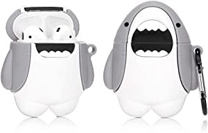 LEWOTE Airpods Silicone Funny Case Cover Compatible for Apple Airpods 1&2[Cute Animal Design][Best Gift for Girls Boys Man or Woman] (Big White Shark)