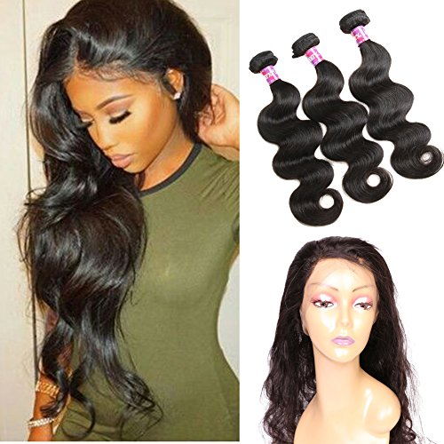 Ossilee Hair 8A Grade 360 Lace Frontal Closure with Bundles Malaysian Body Wave Hair Bundles with 360 Lace Frontal Unprocessed Human Hair Bundles with Frontal (16 16 16+14 360frontal, Natural Color)