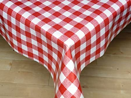 THE TABLECLOTH SHOP Red Gingham Vinyl Tablecloth Table Cover 2 Metres