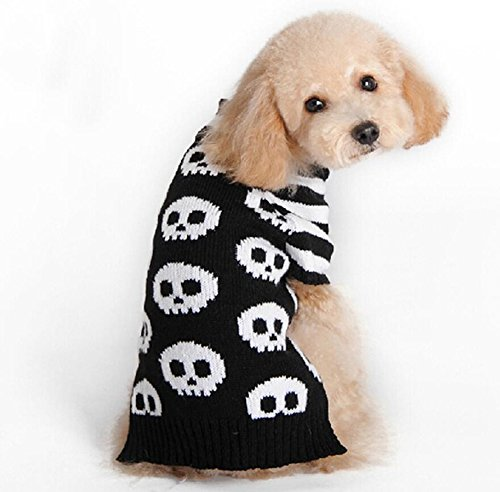 Xxs Dog Halloween Costumes (ANIAC Halloween Costume Scary Skull Stripes Pattern Sweater Clothes for Pets Cats Dogs, Black and White Color (XXS))