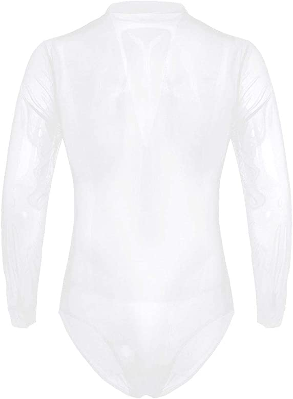 ranrann Camisa de Baile Latino para Hombre Body Manga Larga Cuello en V Profundo Bodysuit de Malla Baile de Salón Leotardo Danza Samba Rumba Blanco Medium: Amazon.es: Ropa y accesorios