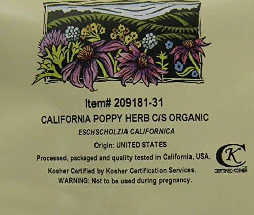Organic California Poppy Herb, c/s (Eschscholzia californica) (16 oz (1lb))