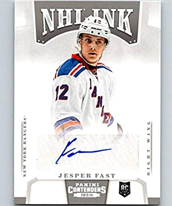 5e8393170 2013-14 Playoff Contenders NHL Ink Jesper Fast NHL Auto NY Rangers 04437