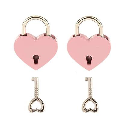 Warmtree Small Metal Heart Shaped Padlock Mini Lock with Key for Jewelry Box Box