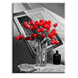 Red Tulip Flower Canvas Wall Art Floral Paingtings Black White Background Picture Home Decor for Bedroom Bathroom (Waterproof Ready to Hang)