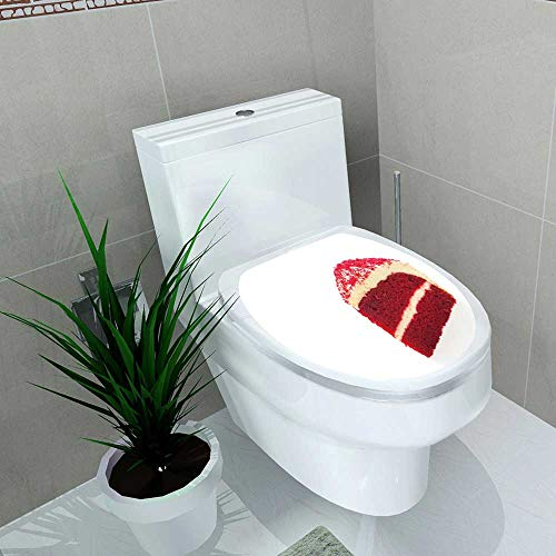 Toilet Sticker red Velvet Cakes Isolated on White Background Home Decor Applique Papers W15 x L17