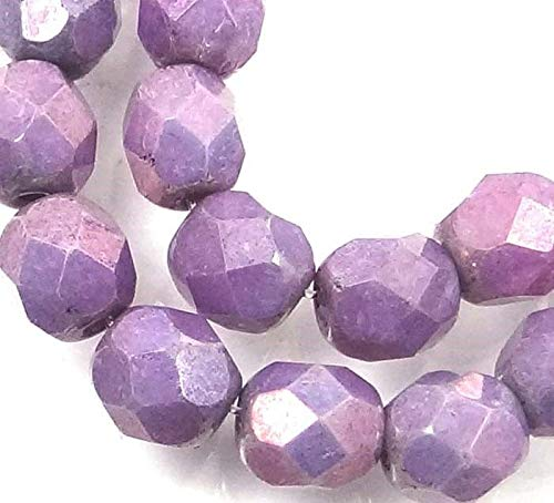 25 Czech Firepolish Faceted Round - Opaque Amethyst - Firepolish Amethyst Round Beads