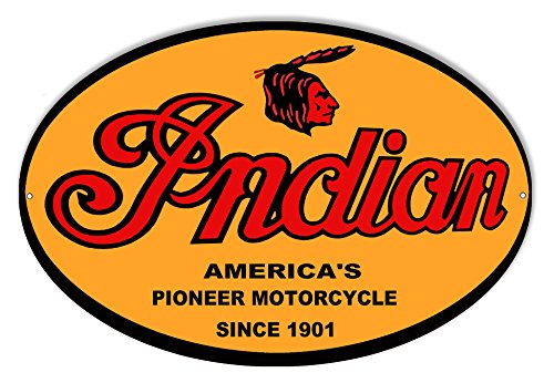 (Garage Art Signs Indian Motorcycle 1901 Series Metal Sign 9x14)