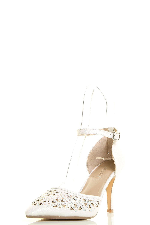 Delicacy Womens Pointy Toe Glitter Rainbow Rhinestone Ankle Strap Med High Heel Pump Sandals