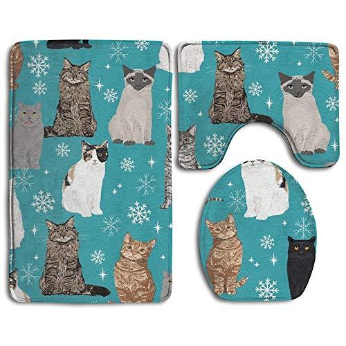 (CoolToiletLidCoverCC Snowflake Cat 3 Piece Bathroom Rug Mat Set Soft Memory Foam Bath Carpet Contour Rug with Lid Cover)