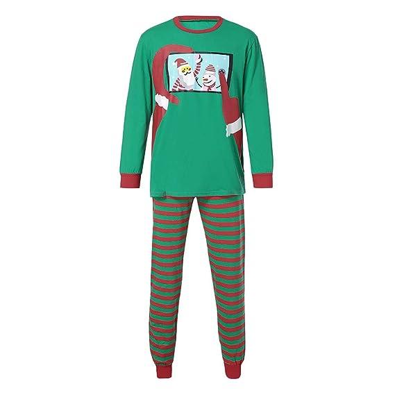 Hombres Tops Blusa Pantalones Familia Pijamas Ropa de Dormir Navidad Santa Daddy Outfits Set de Internet: Amazon.es: Ropa y accesorios