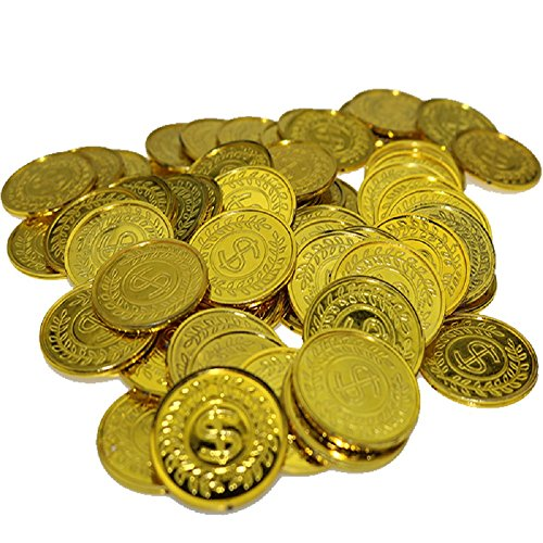 100Pcs Plastic Play Coins Gold Pirate Treasure Hunt Coins Toys For Kids Party Theme Props Decoration,Party Favor,Lucky Draw Games, Plastic Gold Coins Great For Kids, Toddlers, Teachers ¡­]()