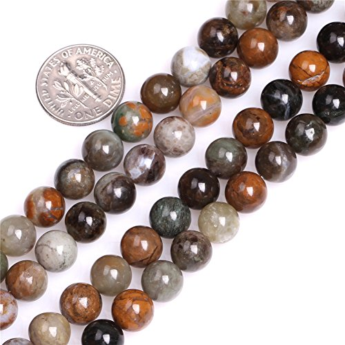 JOE FOREMAN 8mm Ocean Jasper Semi Precious Gemstone Round Brown Loose Beads for Jewelry Making DIY Handmade Craft Supplies 15