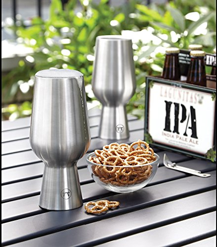 Outset 76451 Beer Chalice Double Wall Ipa Glass, Set of 2, Stainless Steel by Outset (Image #1)