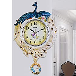 American Style,Living Room Wall Charts/ Peacock Art Wall Clock/Silent,Retro,Wall Decoration,Wall Charts-E 26inch