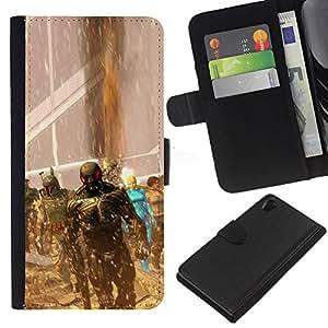 LECELL--Cuero de la tarjeta la carpeta del tirón Smartphone Slots Protección Holder For Sony Xperia Z2 D6502 -- Superhéroes juego --