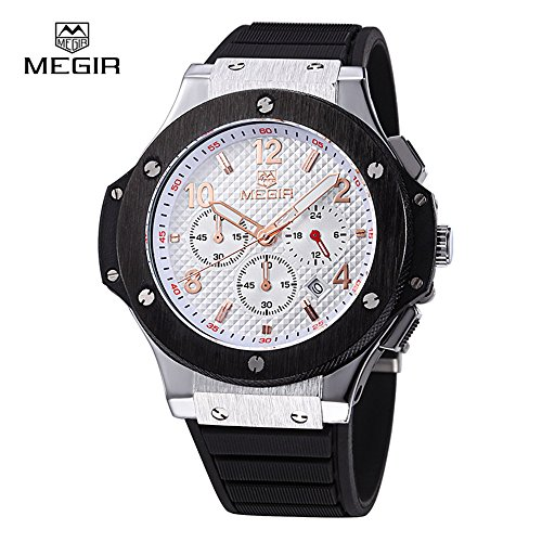 Mens Military Wrist Watches Chronograph Fashion Classic 3ATM Waterproof Quartz Gold Black