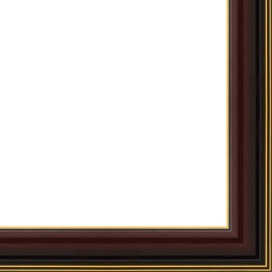 Picture Frame Moulding (Wood) 18ft bundle - Contemporary Mahogany Finish - 1.625'' width - 9/16'' rabbet depth