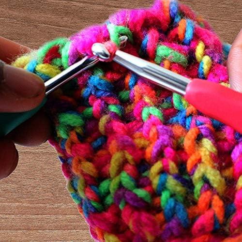 crochets /à tricoter pour pull Id/éal pour les accessoires de tricot professionnels Lot de 8 crochets /à crochet couture poign/ée en plastique t/ête en aluminium