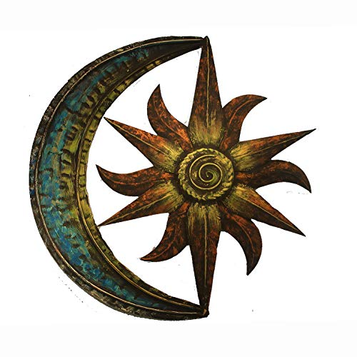 Crafia Celestial Themed Metal Wall Decor | Hand Painted Metal Wall Art | Moon Star Shape Iron showpiece | Metal Wall Decor Ideas (Metal Wall Decors)
