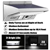 Stainless Steel Solar Lights, RAYKEY Super Bright 21 LED Wireless Waterproof Motion Sensor Outdoor 3 Modes Solar Powered Light for Deck, Patio, Yard, Garden with Motion Activated Auto On/Off