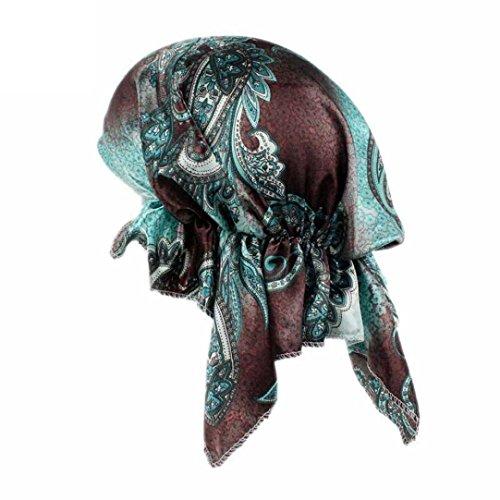 QingFan Multicolor Flower Printed Pre Tied Bandana Head Scarf Hat Turban Headwear Women Stretch Wrap Cap For Cancer - Month Cancer Womens Cap