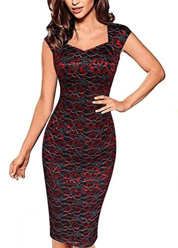 YOGLY Damen Kleid Elegant Sexy V-Ausschnitt Spitzekleid Vintage Partykleid  Cocktailkleid Abendkleid Sommerkleid Ballkleider Etuikleid 8ff90f44ac