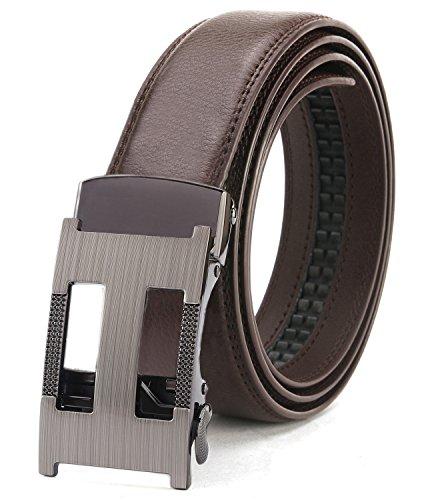 Designer Leather Belt (ITIEZY Ratchet Belt for Men Sliding Automatic Buckle Designer Leather Brown Strap 125mm)