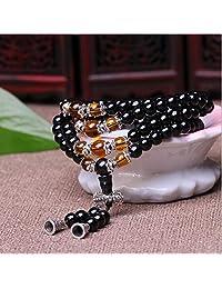 K&C Crystal Gemstone Tibet Buddhist Buddha Meditation 108 0.24 Inches Prayer Bead Mala Bracelet Necklace Black