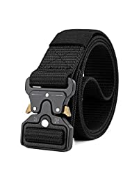MOZETO Tactical Belt, Military Style Heavy Duty Webbing Belt with Quick-Release Tactical Buckle Paramedic Belt Men