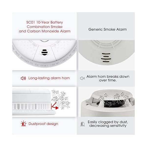 51V0FfFbD3L X-Sense Rauch- Kohlenmonoxid Melder 10-Jahres-Rauch- und CO-Alarm, mit LCD Anzeige und Prüftaste, geprüft nach DIN…