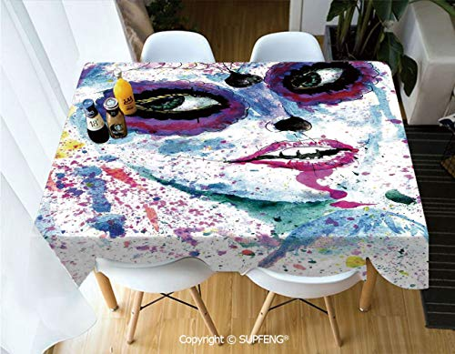 Vinyl tablecloth Grunge Halloween Lady with Sugar Skull Make Up Creepy Dead Face Gothic Woman Artsy (60 X 120 inch) Great for Buffet Table, Parties, Holiday Dinner, Wedding & More.Desktop decoration. -