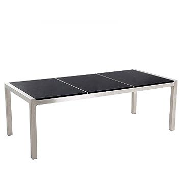 Beliani Table de Jardin en Plateau Granit Noir Poli 220 cm ...
