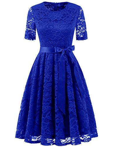DRESSTELLS Short Bridesmaid Scoop Floral Lace Dress Cocktail Formal Party Dress Royal Blue M