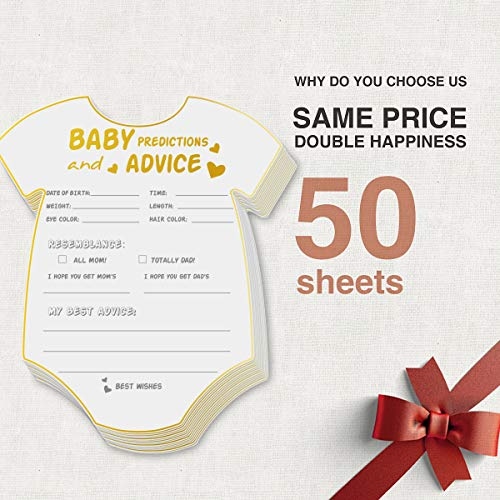 50 Advice and Prediction Cards for Baby Shower Game,Gender Neutral Boy or Girl,Fun Baby Shower Games Favors,New Parent Message Advice Book,New Mom & Dad Card or Mommy & Daddy To Be - 5x6inch Photo #6