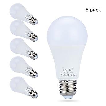 PryEU Pack de 5 Bombillas LED A60, casquillo E27, luz blanca fría 6200K,