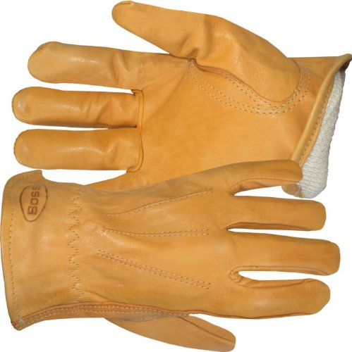 Premium Cowhide Driver (Boss Gloves 6133L Cotton Thermal Grain Cowhide Leather Driver, Large)